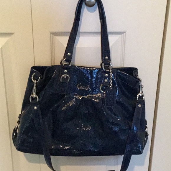 3690e3344f Blue patent leather Coach bag